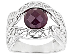 Pre-Owned Red Ruby Rhodium Over Sterling Silver Ring 2.04ct