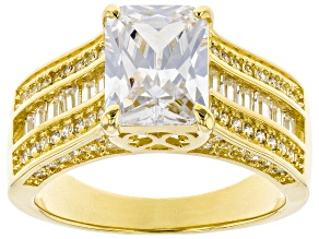 Pre-Owned Cubic Zirconia 18K Yellow Gold Over Sterling Silver Ring 6.02ctw