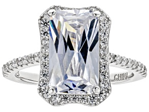 Pre-Owned White Cubic Zirconia Rhodium Over Sterling Silver Center Design Ring 9.24ctw