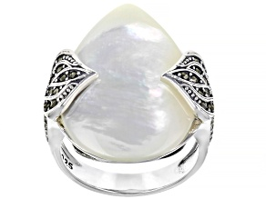 Pre-Owned White Mother of Pearl Sterling Silver Ring