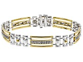 Pre-Owned White Diamond Rhodium and 14k Yellow Gold Over Sterling Silver Mens Bracelet 1.00ctw