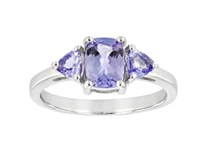 Pre-Owned Blue Tanzanite Rhodium Over Sterling Silver 3-Stone Ring 1.18ctw