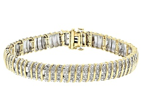 Pre-Owned White Diamond Rhodium And 14K Yellow Gold Over Sterling Silver Bracelet 0.50ctw