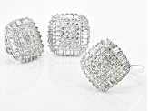 Pre-Owned White Cubic Zirconia Rhodium Over Sterling Silver Ring And Earrings 7.27ctw