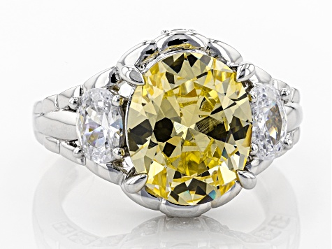 Pre-Owned Yellow & White Cubic Zirconia Rhodium Over Sterling Silver Center Design Ring 10.49ctw.