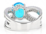 Pre-Owned  Blue Opal Rhodium Over Sterling Silver Ring 1.85ctw
