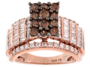 Pre-Owned Brown And White Cubic Zirconia 18k Rose Gold Over Silver Ring 4.36ctw (2.99ctw DEW)