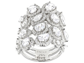 Pre-Owned White Cubic Zirconia Rhodium Over Sterling Silver Ring 11.50ctw