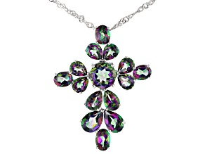 Pre-Owned Green Mystic Fire(R) topaz rhodium over silver cross pendant with chain 6.93ctw