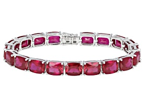 Pre-Owned Red Lab Created Ruby Rhodium Over Silver Bracelet 34.28ctw
