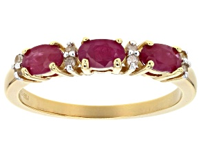 Pre-Owned Red Ruby 18k Yellow Gold Over Sterling Silver Band Ring .94ctw
