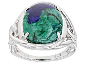 Pre-Owned Blue Azurmalachite Rhodium Over Silver Ring