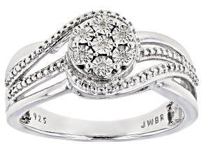 Pre-Owned White Diamond Accent Rhodium Over Sterling Silver Ring