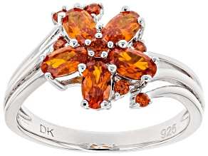 Pre-Owned Orange Cubic Zirconia Rhodium Over Sterling Silver Ring 1.93ctw