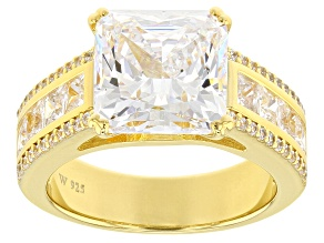 Pre-Owned White Cubic Zirconia Scintillant Cut 18k Yellow Gold Over Sterling Silver Ring 10.55ctw