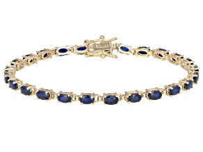 Pre-Owned Blue sapphire 18k yellow gold over sterling silver bracelet 6.16ctw