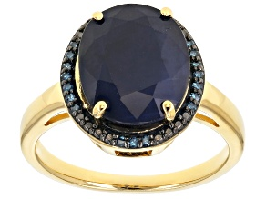 Pre-Owned Blue sapphire 18k yellow gold over silver ring 4.86ctw