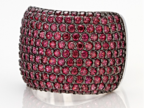 Pre-Owned Raspberry Color Rhodolite Rhodium Over Silver Ring 3.74ctw