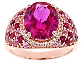 Pre-Owned Pink lab sapphire 18k rose gold over silver ring 6.41ctw