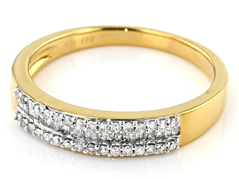 Pre-Owned White Diamond 14K Yellow Gold Over Silver Sterling 0.25ctw