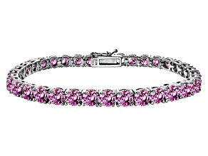 Pre-Owned Pink Cubic Zirconia Sterling Silver Tennis Bracelet 33.30ctw