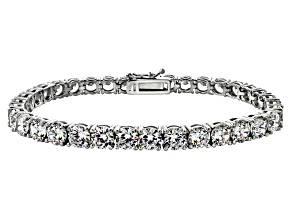 Pre-Owned White Cubic Zironia Sterling Silver Tennis Bracelet 33.30ctw