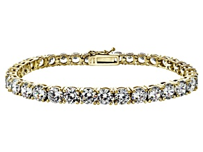Pre-Owned White Cubic Zirconia 18k Yellow Gold Over Sterling Silver Tennis Bracelet 33.30ctw