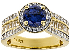 Pre-Owned Blue and White Cubic Zirconia 18k Yellow Gold Over Sterling Silver Ring 4.19ctw