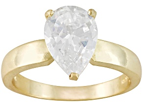 Pre-Owned Bella Luce® 3.60ct Pear Shape 18k Yellow Gold Over Sterling Silver Solitaire Ring