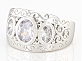 Pre-Owned White Cubic Zirconia Rhodium Over Sterling Silver Ring 3.22ctw