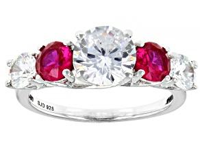 Pre-Owned Red and White Cubic Zirconia Rhodium Over Sterling Silver Ring 5.08ctw