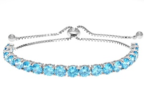 Pre-Owned blue cubic zirconia rhodium over sterling silver adjustable bracelet 14.27ctw