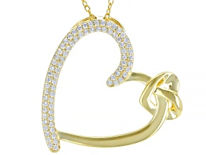 Pre-Owned White Cubic Zirconia 18k Yellow Gold Over Sterling Silver Heart Pendant With Chain 0.75ctw