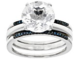 Pre-Owned White crystal quartz rhodium over sterling silver ring set 3.23ctw
