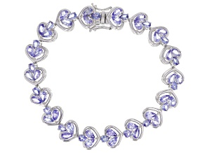 Pre-Owned Blue tanzanite rhodium over silver bracelet 7.80ctw