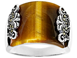 Pre-Owned Brown Tigers Eye Rhodium Over Sterling Silver Ring