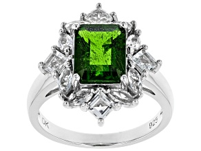 Pre-Owned Green Chrome Diopside Rhodium Over Silver Ring 3.16ctw