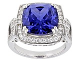 Pre-Owned Blue And White Cubic Zirconia Rhodium Over Sterling Silver Ring 12.50ctw
