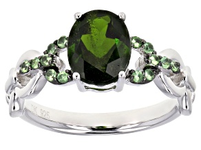 Pre-Owned Green Chrome Diopside Rhodium Over Silver Ring .96ctw