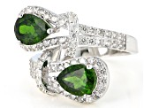 Pre-Owned Chrome Diopside Rhodium Over Sterling Silver Ring 3.20ctw
