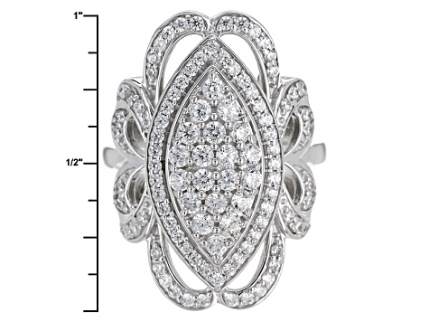 Pre-Owned Cubic Zirconia Silver Ring 2.62ctw (1.13ctw DEW)