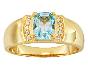 Pre-Owned Sky Blue Topaz And White Zircon 18k Gold Over Silver Mens Ring 1.43ctw