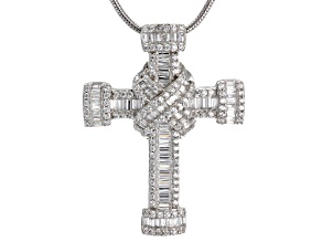 Pre-Owned white cubic zirconia rhodium over silver cross pendant with chain