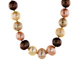 Pre-Owned Multi-Color Cultured Freshwater Pearl 18k Gold Over Sterling Silver Station Necklace