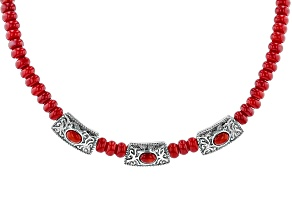 Pre-Owned Red Bamboo Coral Sterling Silver Necklace