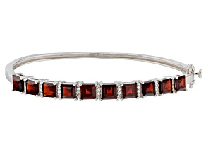 Pre-Owned Red garnet rhodium over silver bangle bracelet 7.99ctw