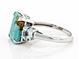 Pre-Owned Blue Kingman Turquoise Rhodium Over Sterling Silver Ring .47ctw