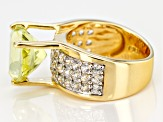 Pre-Owned Yellow canary quartz 18k gold over silver ring 6.45ctw