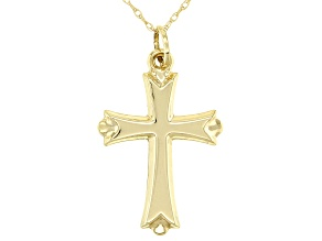 Pre-Owned 14K Yellow Gold Cross Pendant With Cable Link Chain 18 Inch