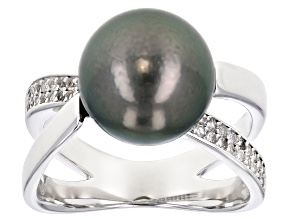 Pre-Owned 10-11mm Cultured Tahitian Pearl With 0.28ctw White Topaz Rhodium over Sterling Silver Ring